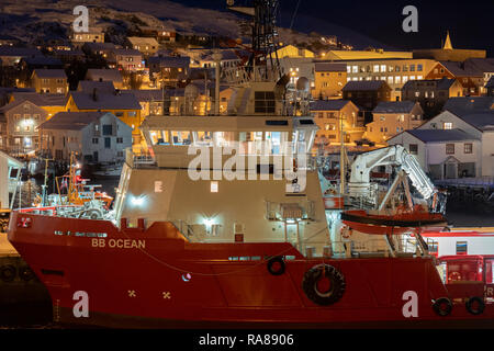 BB Ocean support ship docked at Honningsvag, Norway. - Stock Image