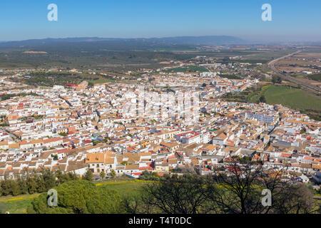 Almodovar del Rio, Cordoba Province, Spain.  Overall view from Almodovar castle. - Stock Image