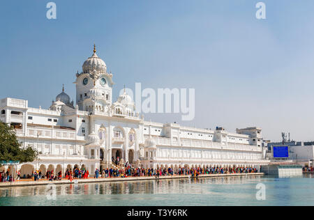 Golden Temple of Amritsar (Sri Harmandir Sahib, Darbar Sahib) and pool, the holiest Gurdwara and pilgrimage site of Sikhism, Amritsar, Punjab, India - Stock Image