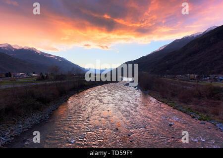 Sunset on the Adda river, Valtellina, Lombardy, Italy, Europe - Stock Image