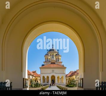 ALBA IULIA, ROMANIA - February 28, 2019: Beautiful view to the Coronation Reunification Cathedral in Alba Iulia city, Romania. A church a sunny day in - Stock Image