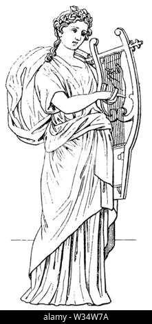 Erato. God of classical antiquity., ,  (cultural history book, 1875) - Stock Image