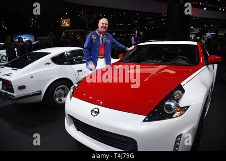 New York, NY, USA. 17th Apr, 2019. Peter Brock, 2020 Nissan 370Z 50th Anniversary edition in attendance for New York International Auto Show - WED, Jacob K. Javits Convention Center, New York, NY April 17, 2019. Credit: Kristin Callahan/Everett Collection/Alamy Live News - Stock Image