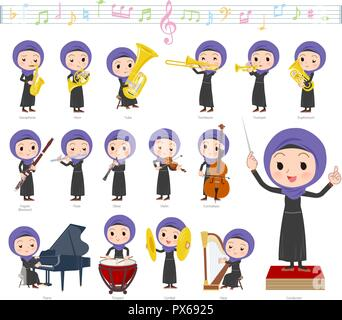 A set of women wearing hijab on classical music performances.There are actions to play various instruments such as string instruments and wind instrum - Stock Image