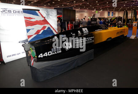 Three-quarter rear view  of the JCB Deiselmax,  on display at the 2018 London Motor Show - Stock Image
