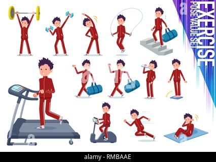 A set of school boy in sportswear on exercise and sports.There are various actions to move the body healthy.It's vector art so it's easy to edit. - Stock Image
