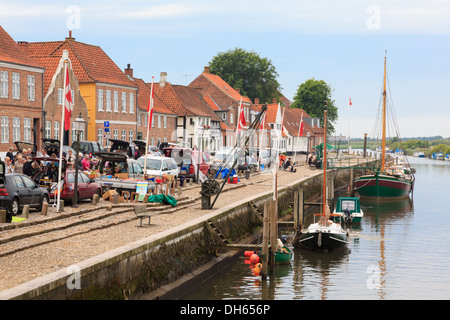 Street market on quayside of River Ribe in oldest Danish town of Ribe, South West Jutland, Denmark, Scandinavia, Europe - Stock Image