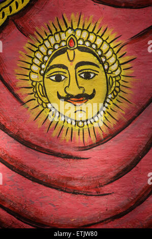 Royal Sun Symbol painted on a wall in the City Palace, Udaipur, Rajasthan, India - Stock Image