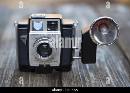 Vintage Kodak Brownie Twin 20 Camera with Flash Gun - Stock Image