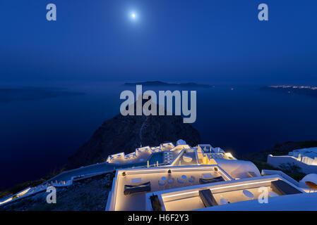 Skaros volcanic rock at night , Santorini - Stock Image