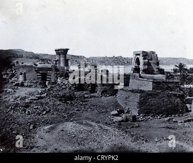 Nubie Village et Temple de L'ile de Beghe, Egypt, 1850, by Maxime du Camp - Stock Image