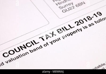 Council Tax Bill 2018-2019 - Stock Image