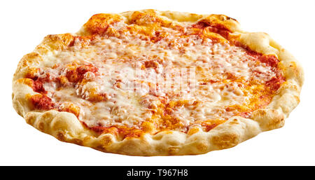 Freshly made traditional Italian Margherita pizza with mozzarella cheese and tomato on a crispy pastry base viewed low angle isolated on white - Stock Image