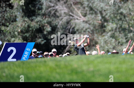 Rancho Mirage, California, USA. 2nd Apr, 2017. Suzann Pettersen tees off on the 2nd hole during the final round - Stock Image