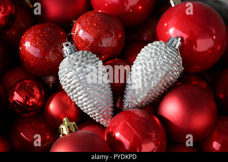 Colorful, shiny and glittery Christmas decorations. Merry Xmas! - Stock Image