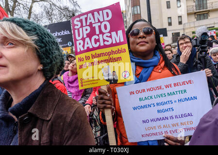 London, UK. 16th March 2019. Thousands march through London on UN Anti-Racism day to say 'No to Racism, No to Fascism' and that 'Refugees Are Welcome Here', to show solidarity with the victims of racist attacks including yesterdays Christchurch mosque attack and to oppose Islamophobic hate crimes and racist policies in the UK and elsewhere. The marchers met in Park Lane where there were a number of speeches before marching to a rally in Whitehall. Marches took place in other cities around the world including Glasgow and Cardiff. Peter Marshall/Alamy Live News - Stock Image