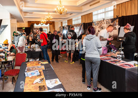 Skibbereen, West Cork, Ireland. 20th Oct, 2018. There was a big attendance at the show. The show has been attended by many tattooists from across Ireland and the North. The event finishes tomorrow. Credit: Andy Gibson/Alamy Live News. - Stock Image