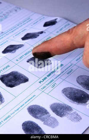 Finger print record being recorded onto paper. - Stock Image