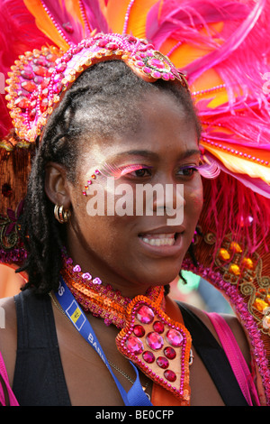 Caribbean Girl Dancing in the Notting Hill Carnival Parade 2009 - Stock Image