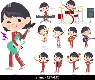 A set of women in sportswear playing rock 'n' roll and pop music.There are also various instruments such as ukulele and tambourine.It's vector art so  - Stock Image