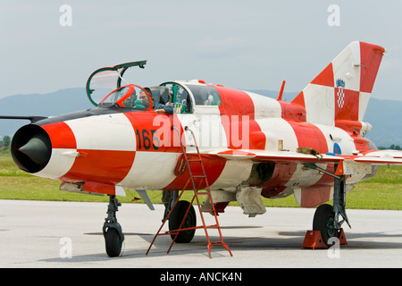 Croatian Air Force MiG-21 UMD fighter, Pleso AFB during 'open day' visit in 2007 - Stock Image