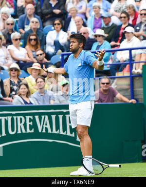 Eastbourne, UK. 24th June, 2019. Fernando Verdasco of Spain shows his frustration after a series of double fault serves against Jhon Millman of Australia during their match at the Nature Valley International tennis tournament held at Devonshire Park in Eastbourne . Credit: Simon Dack/Alamy Live News - Stock Image