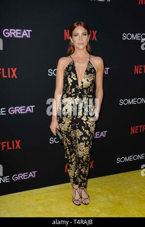 Los Angeles, CA, USA. 17th Apr, 2019. Brittany Snow at arrivals for SOMEONE GREAT Premiere on NETFLIX, ArcLight Hollywood, Los Angeles, CA April 17, 2019. Credit: Elizabeth Goodenough/Everett Collection/Alamy Live News - Stock Image