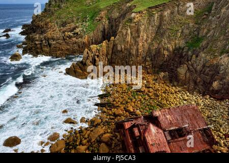RMS Mulheim German Cargo Ship wreck,Mayon Cliff,Lands End,Cornwall,England,UK - Stock Image