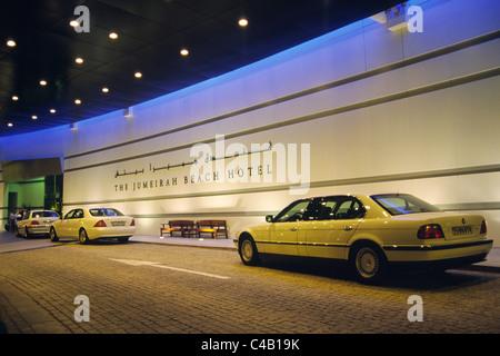 The entrance portico to the Jumeirah Beach Resort 5 star luxury hotel at Jumeirah Beach, Dubai, United Arab Emirates. - Stock Image