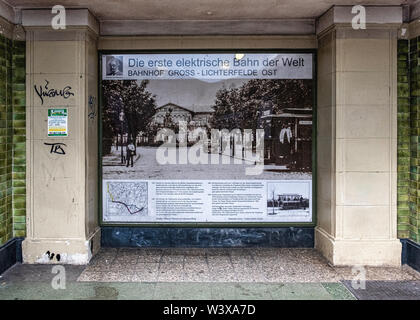 Berlin-Lichterfelde Ost railway station interior passage with picture of first electric tram. Historic listed building - Stock Image