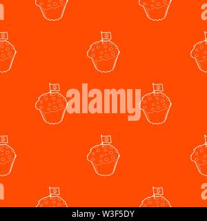 Cake and flag with marijuana leaf pattern vector orange - Stock Image