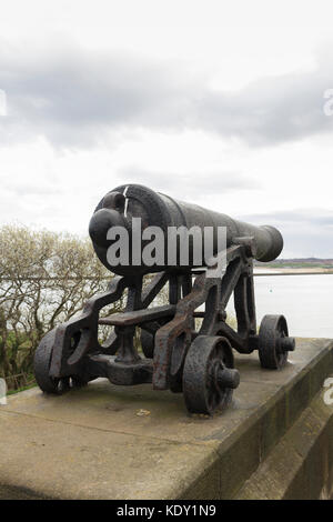 One of four cannons from the ship 'Royal Sovereign' at the memorial statue of Admiral Lord Collingwood at - Stock Image