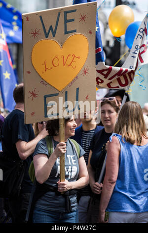 London, UK. 23 June 2018.Anti-Brexit march and rally for a People's Vote in Central London. - Stock Image