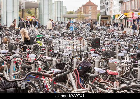 Hundreds of bicycles at Nørreport Metro and railway station in Copenhagen, Denmark, Europe - Stock Image