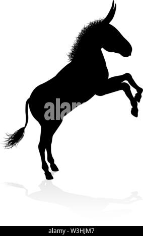 Donkey Animal Silhouette - Stock Image