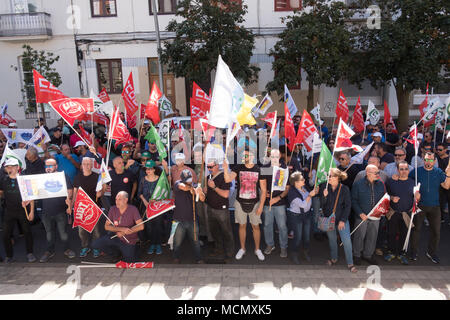 Santa Cruz de Tenerife; a demonstration by members and supporters of the UGT union outside the City Hall. - Stock Image