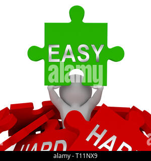 Easy Vs Hard Jigsaw Portrays Choice Of Simple Or Difficult Way. Guide To Choose Best Future Path - 3d Illustration - Stock Image