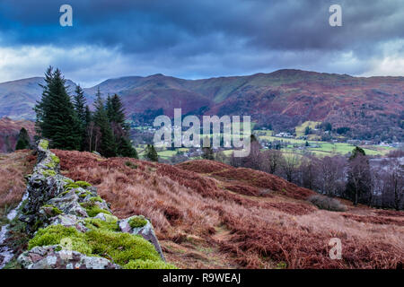The village of Grasmere, seen from the summit of Silver How, near Grasmere, Lake District, Cumbria - Stock Image