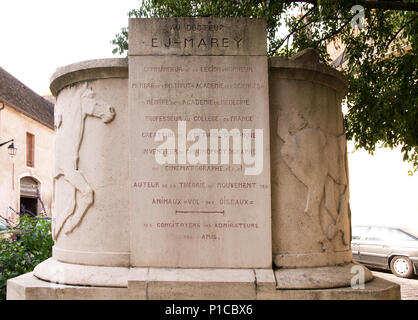 Inscription on Memorial statue to Étienne-Jules Marey French scientist physiologist and chronophotographer in Beaune Burgundy France - Stock Image