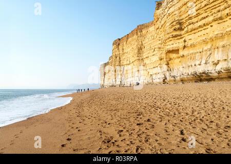 The western part of Chesil Beach at Burton Cliff on the Jurassic Coast, Near Bridport, Dorset, England, UK - Stock Image