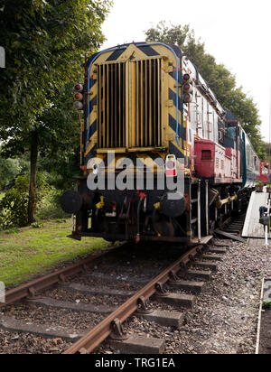 A Class 08 diesel-electric shunting locomotive pulling a train at East Kent Railway Trust,  Station Road,  Shepherdswell, Dover - Stock Image