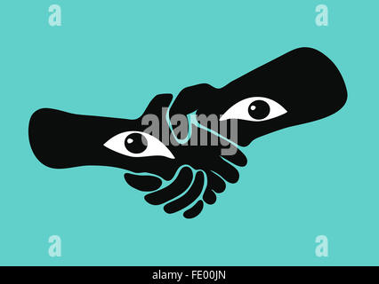 Handshake with eyes in the wrists, watching the viewer. - Stock Image