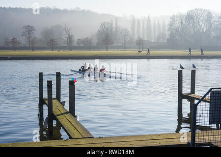 A women's rowing four set off for practice in the early morning Winter light on the River Thames at Henley-on-Thames, Oxfordshire. - Stock Image