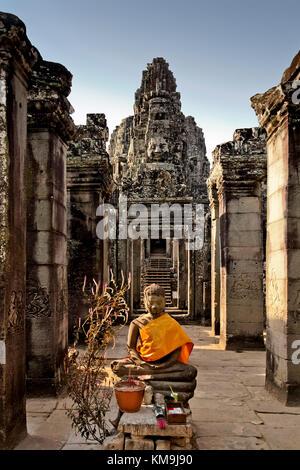Buddha in  Bayon Temple, Angkor Wat,   Cambodia, Asia, - Stock Image