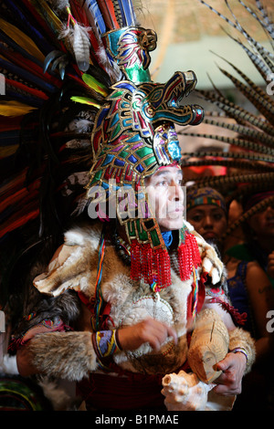 Shaman at an Aztec Celebration in the National Museum of Anthropology Chapultepec Park Mexico City Mexico - Stock Image