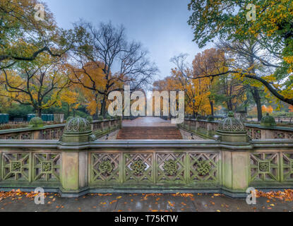 Central Park Mall walkway through the middle in fall - Stock Image