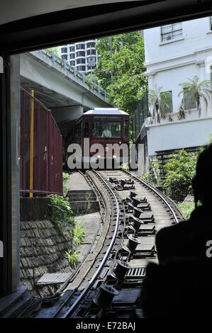 The Peak Tramway, a funicular railway transporting people to and from one of Hong Kong's most popular tourist - Stock Image