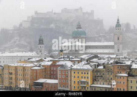 City skyline in a snow day, Salzburg, Austria - Stock Image
