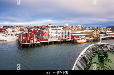 Hurtigruten Coastal Express cruise ship 'Richard With' approaches Vardø, a town in Finnmark County - Stock Image