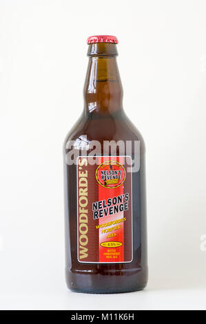 Brown bottle of real ale called NELSON'S REVENGE brewed by Woodforde's of Norfolk England UK - Stock Image
